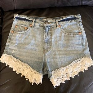 Free People Lace Edged Distressed Denim Shorts